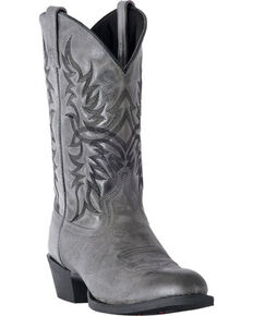 Laredo Men's Harding Grey Waxy Leather Cowboy Boots - Medium Toe, Grey, hi-res
