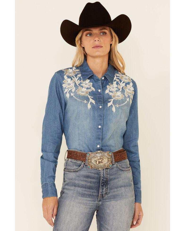 Panhandle Women's Denim Floral Embroidered Long Sleeve Snap Western Core Shirt , Blue, hi-res