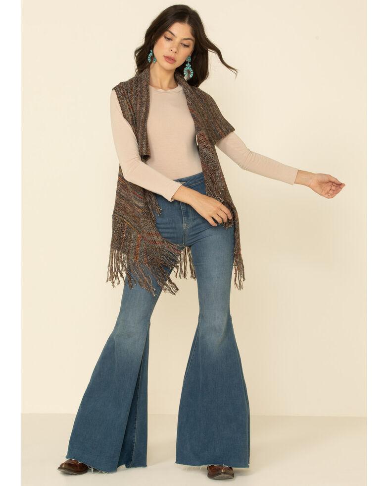 Shyanne Women's Olive Marled Sleeveless Fringe Sweater Vest, Olive, hi-res