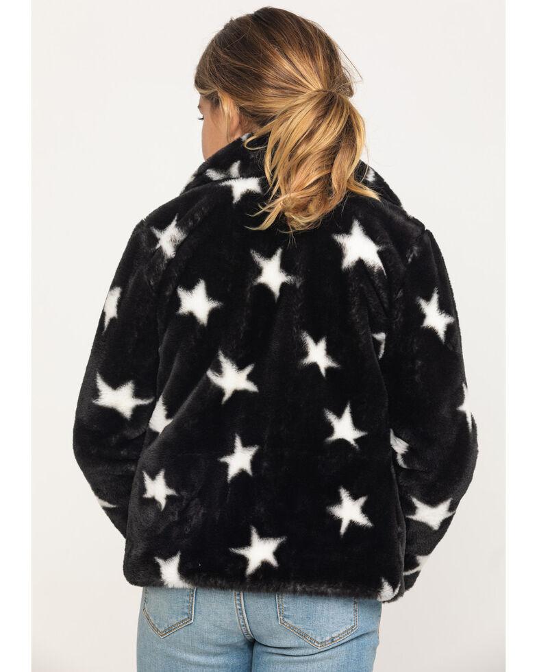 Jack & Anna Girls' Black & White Star Faux Fur Coat, Black, hi-res