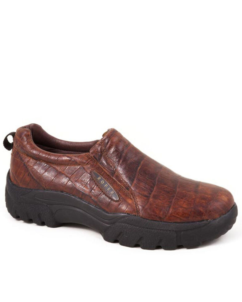 Roper Men's Embossed Croc Slip-On Shoes, Brown, hi-res