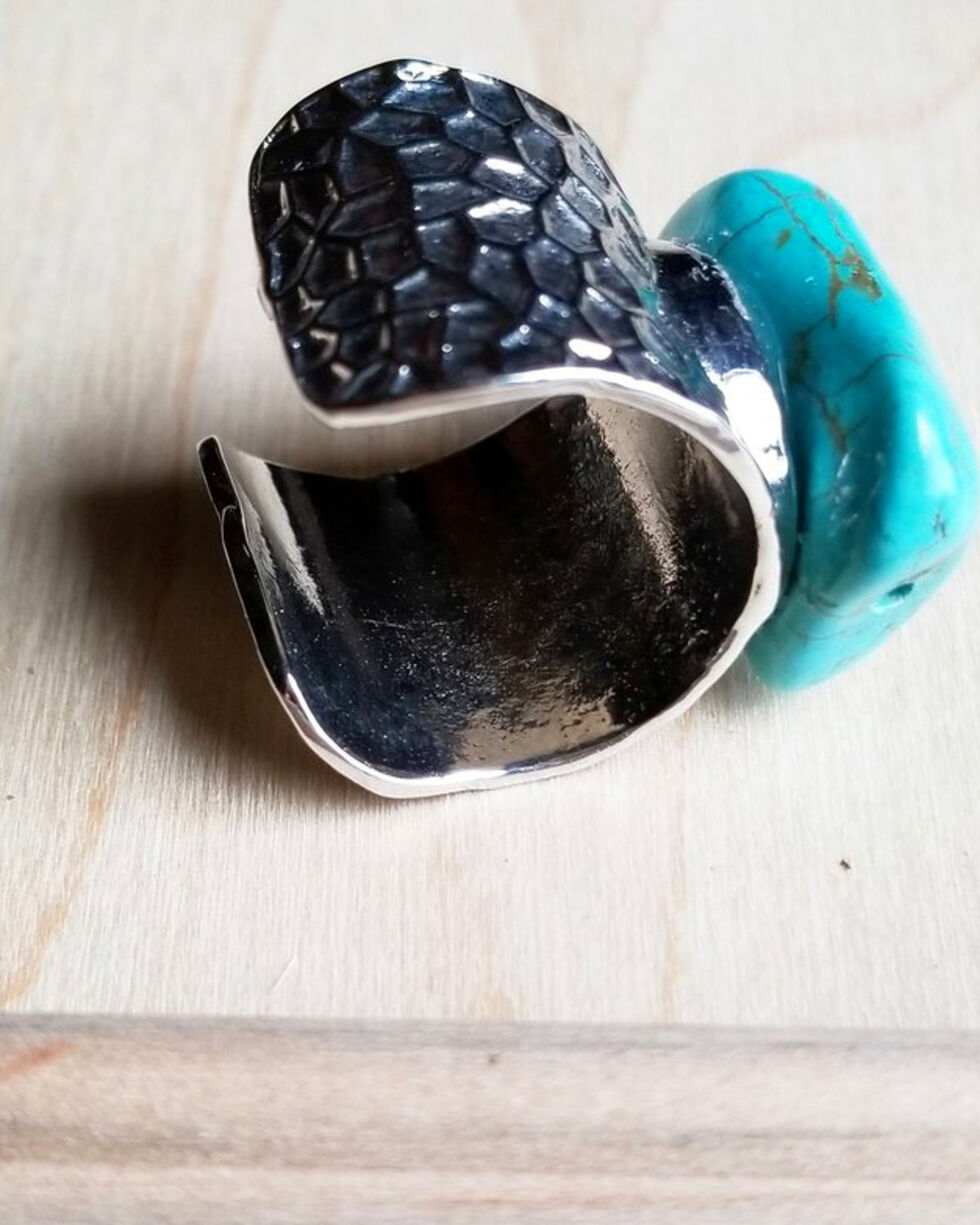 Jewelry Junkie Women's Turquoise Chunk on Cuff Ring, Turquoise, hi-res