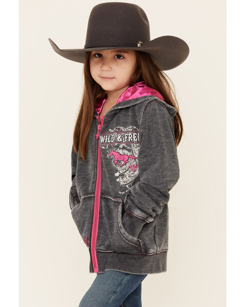 Cowgirl Hardware Girls' Charcoal Wild & Free Zip-Up Hooded Sweatshirt , Charcoal, hi-res