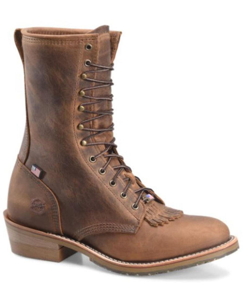 Double H Men's Noell Packer Lace-Up Work Boots - Soft Toe, Brown, hi-res