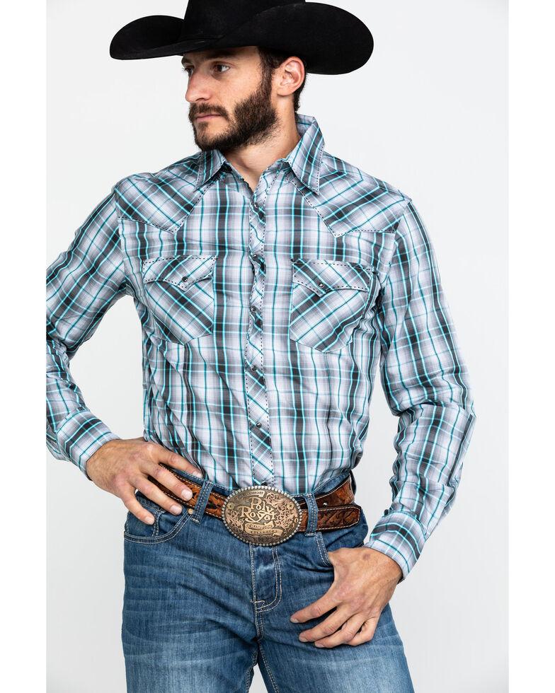 Wrangler Men's Grey Plaid Fashion Snap Long Sleeve Western Shirt , Grey, hi-res