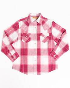 Wrangler Girls' Plaid Pearl Snap Long Sleeve Western Shirt, Red, hi-res