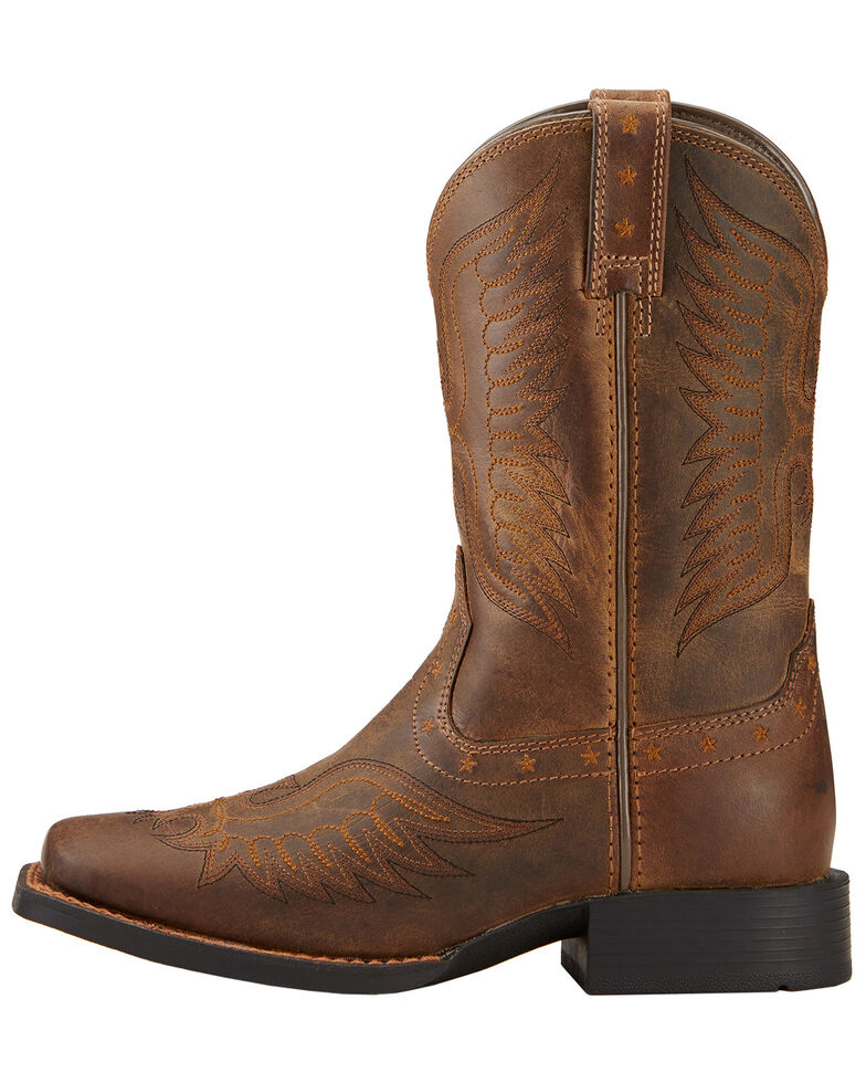 Ariat Kid's Honor Square Toe Western Boots, Distressed, hi-res