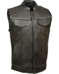 Milwaukee Leather Men's Black Open Neck Club Style Vest - 3X , Black, hi-res