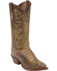 """Tony Lama Men's Super Exotic 13"""" Vintage Hornback Caiman Western Boots, Tan, hi-res"""