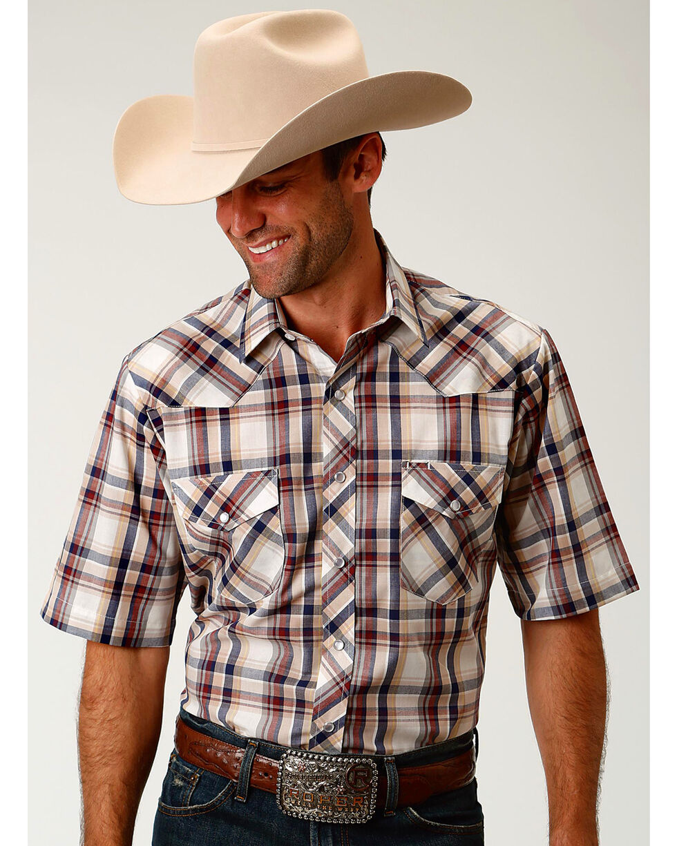 Roper Men's Cream Plaid Short Sleeve Western Snap Shirt, Cream, hi-res