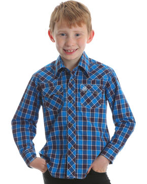 Wrangler Boys' Retro Blue Long Sleeve Western Shirt , Blue, hi-res