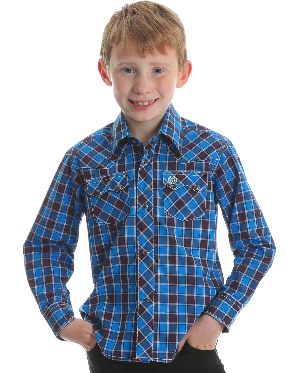Wrangler Retro Boys' Blue Long Sleeve Western Shirt , Blue, hi-res