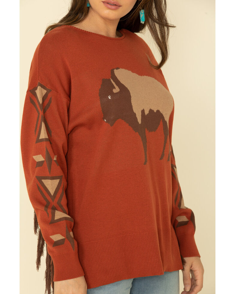 Cotton & Rye Outfitters Women's Rust Buffalo Fringe Sweater, Rust Copper, hi-res