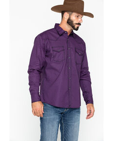 Wrangler 20X Men's Diamond Print Advanced Comfort Long Sleeve Western Shirt , Black/purple, hi-res