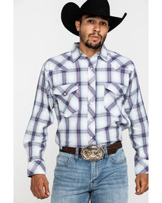 Resistol Men's White Indian Springs Large Plaid Long Sleeve Western Shirt , White, hi-res