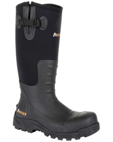 Rocky Men's Sport Pro Rubber Waterproof Work Boots - Steel Toe, Black, hi-res