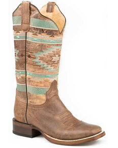 Roper Women's Aztec Embroidery Western Boots - Square Toe, Brown, hi-res