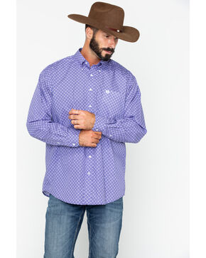 Cinch Men's Purple Geo Print Long Sleeve Button Shirt , Purple, hi-res