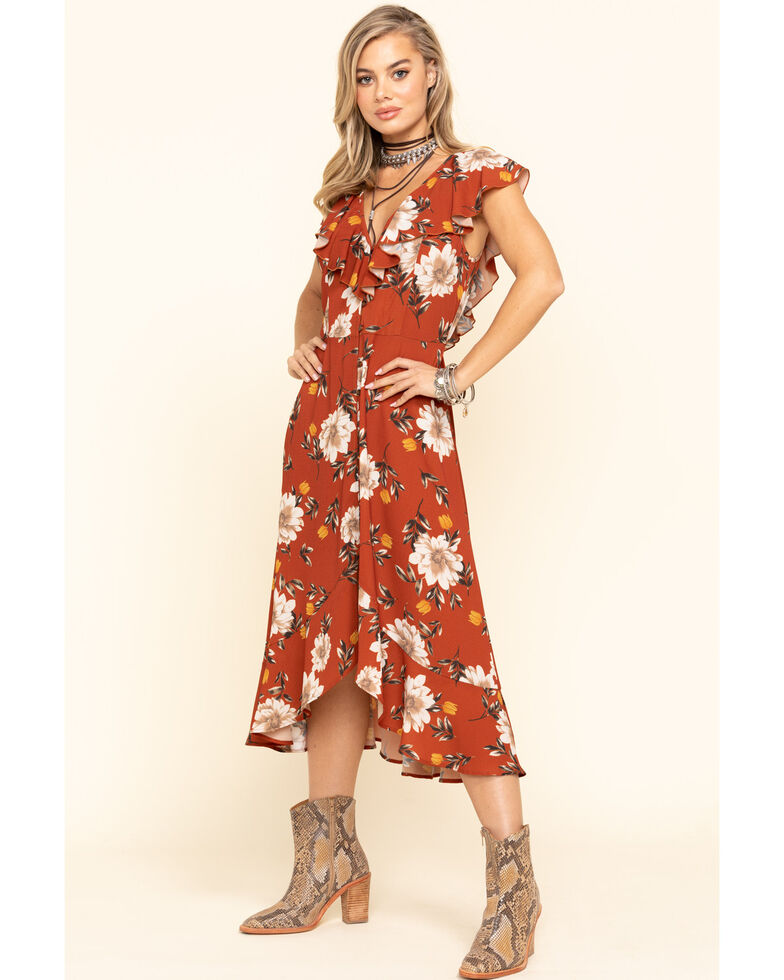Band of Gypsies Women's Rust Floral Ruffle High-Low Dress, Rust Copper, hi-res