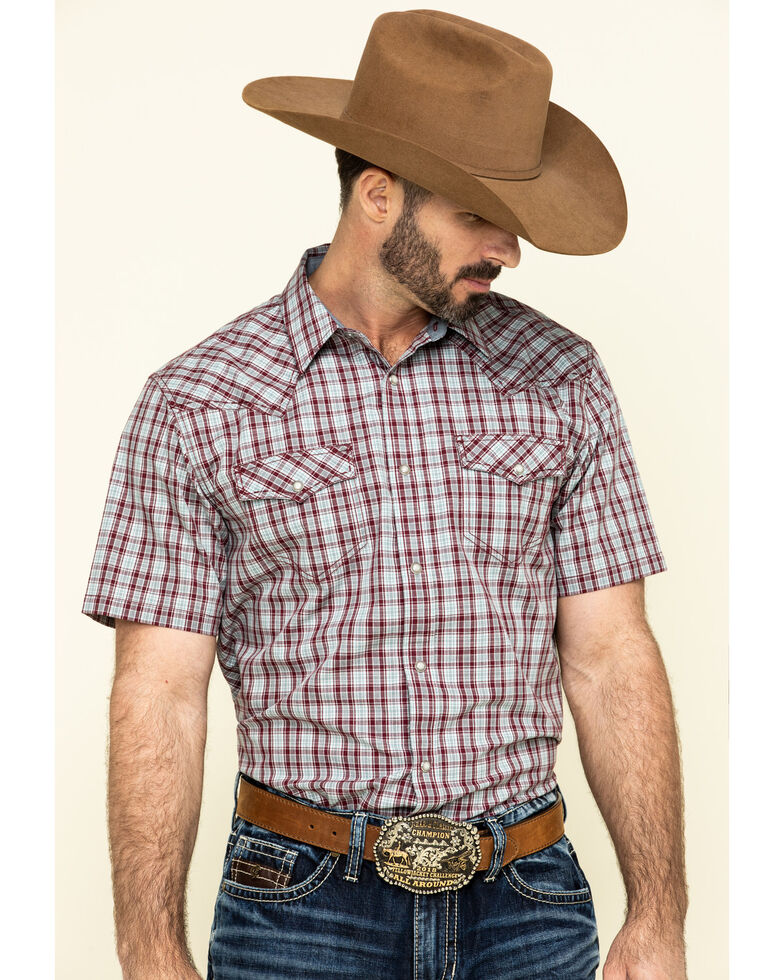 Cody James Men's Static Small Plaid Short Sleeve Western Shirt , Maroon, hi-res