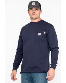 Carhartt Long Sleeve Pocket Fire Resistant Work Shirt, Navy, hi-res