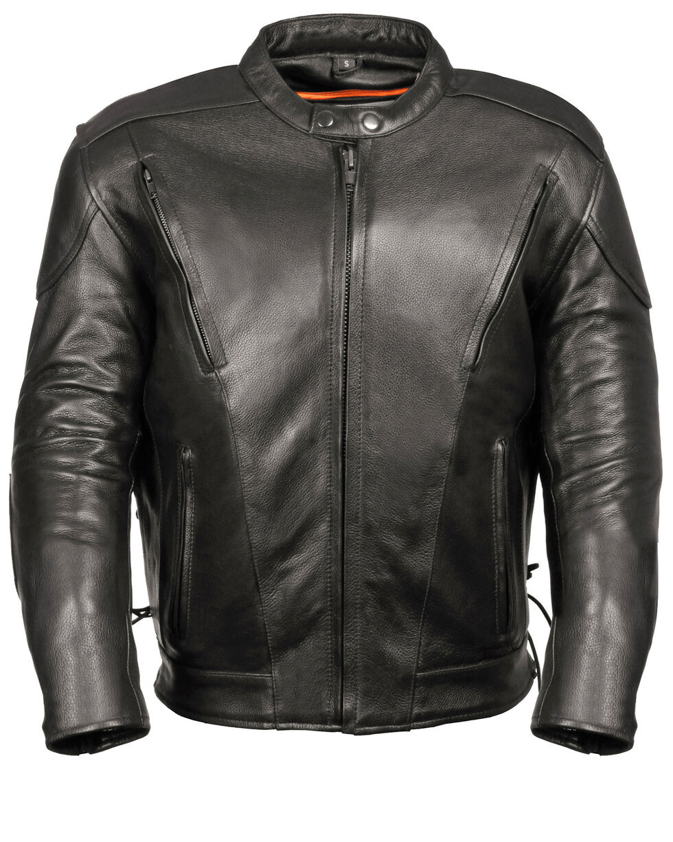 Milwaukee Leather Men's Lace Side Vented Scooter Jacket - 3X, Black, hi-res