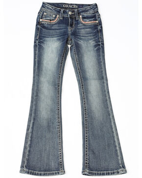 Grace In LA Girls Embroidered Pocket Skinny Jeans, Indigo, hi-res