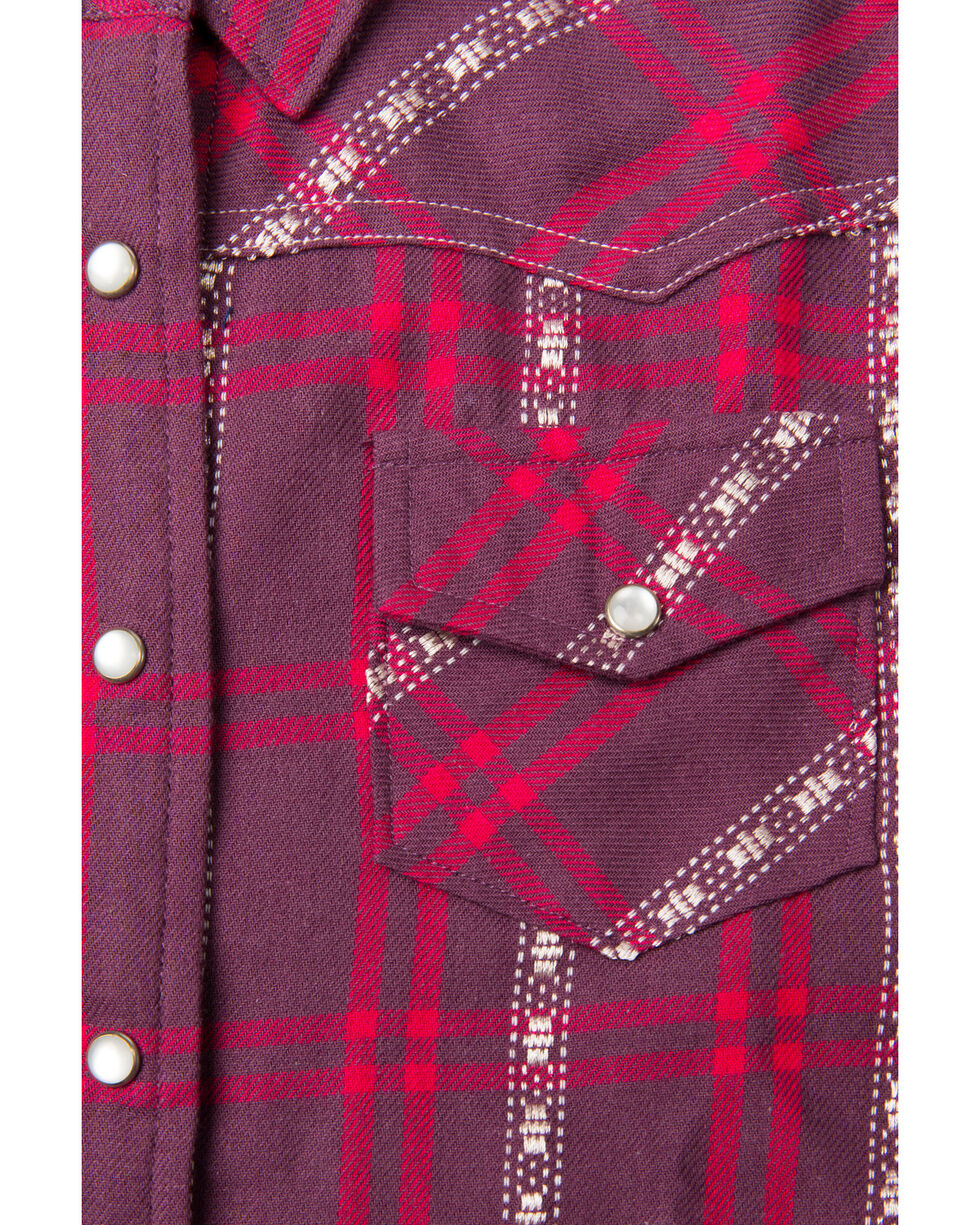 Shyanne Toddler-Girls' Plaid Woven Snap Long Sleeve Shirt, Burgundy, hi-res
