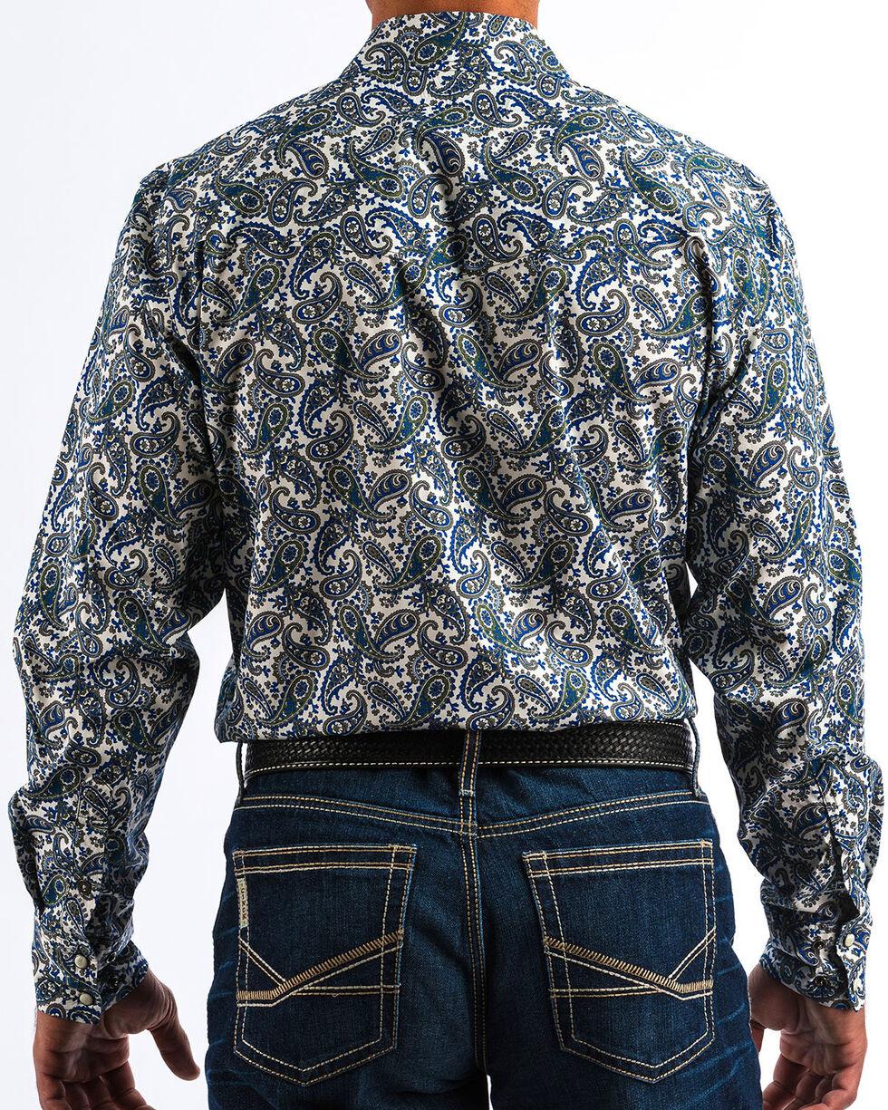 Cinch Men's Modern Fit Paisley Long Sleeve Western Shirt, Cream, hi-res