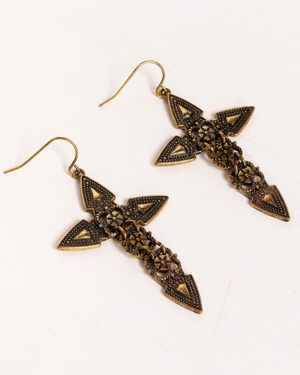 Idyllwind Women's Arrow Brass Earrings, Gold, hi-res