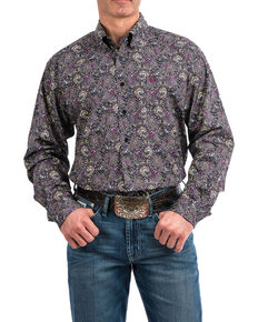 Cinch Men's Black Geo Print Weave Long Sleeve Western Shirt , Black, hi-res