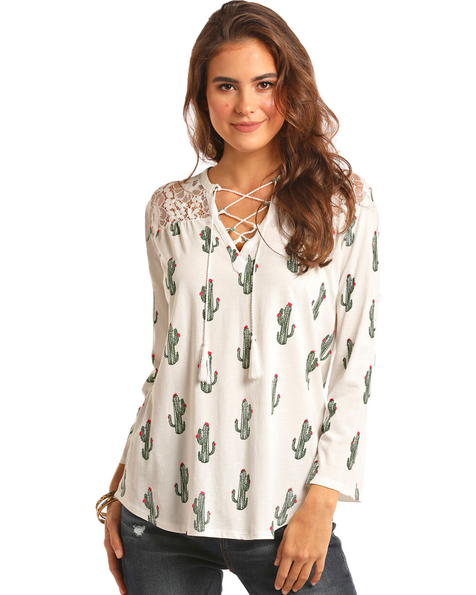 Rock & Roll Cowgirl Women's Cactus Lace Up Top, Ivory, hi-res