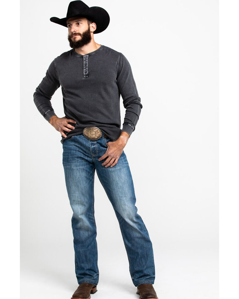 Cody James Men's Solid Waffle Thermal Washed Henley Long Sleeve Shirt , Charcoal, hi-res