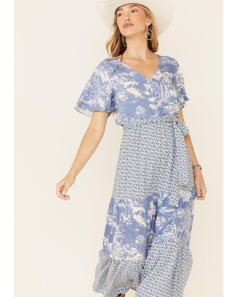 Luna Chix Women's Blue Multi Print Tiered Maxi Dress, Blue, hi-res