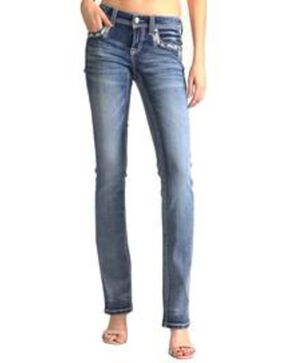 Grace In LA Women's Embellished Pocket Easy Boot Cut Jeans , Blue, hi-res