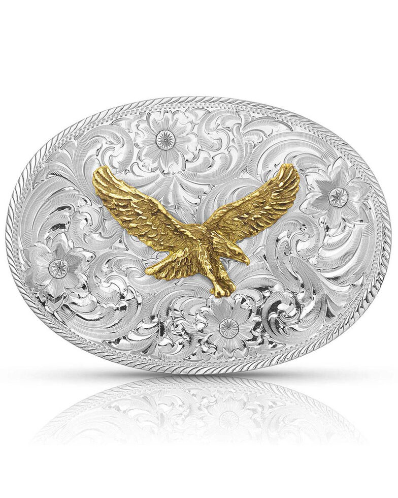 Montana Silversmiths Men's Classic Eagle Buckle, Silver, hi-res