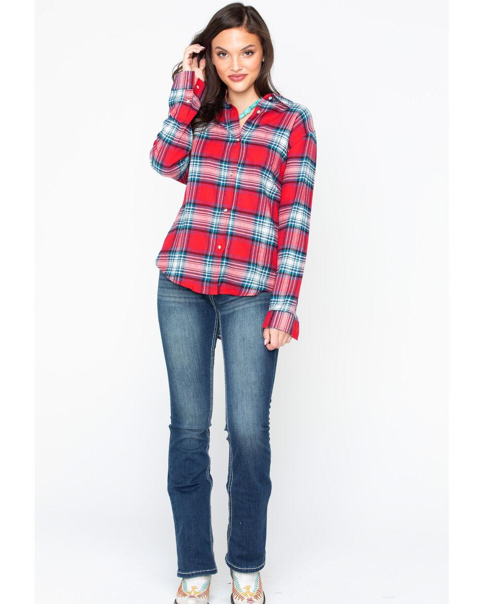Wrangler Women's Plaid Boyfriend Fit Flannel Shirt, Red, hi-res