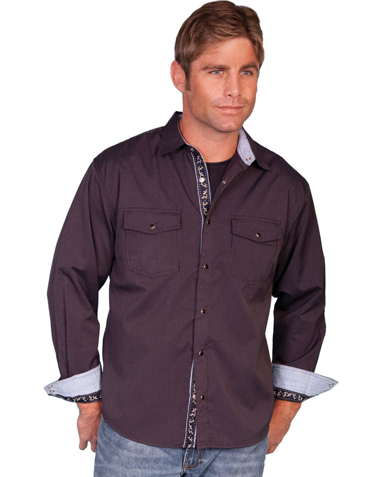 Scully Men's Signature Series Striped Long Sleeve Shirt, Plum, hi-res