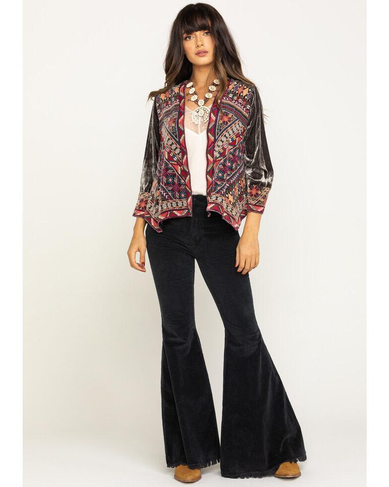 Johnny Was Women's Ravi Velvet Bolero Jacket, Grey, hi-res