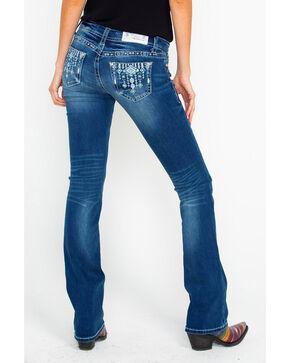 Grace In LA Women's Low Rise Boot Jeans , Blue, hi-res