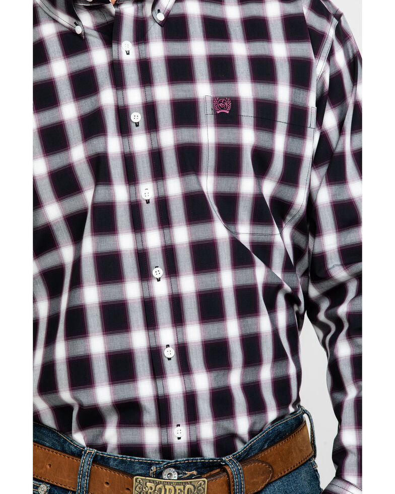 Cinch Men's Multi Large Check Plaid Long Sleeve Western Shirt , Purple, hi-res