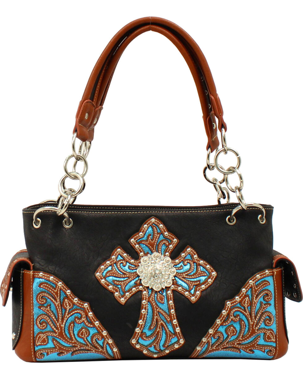 Blazin Roxx Women's Sequin Cross Purse, Black, hi-res