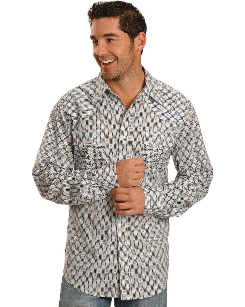 Tin Haul Blue Ikat Print Long Sleeve Western Shirt, Blue, hi-res
