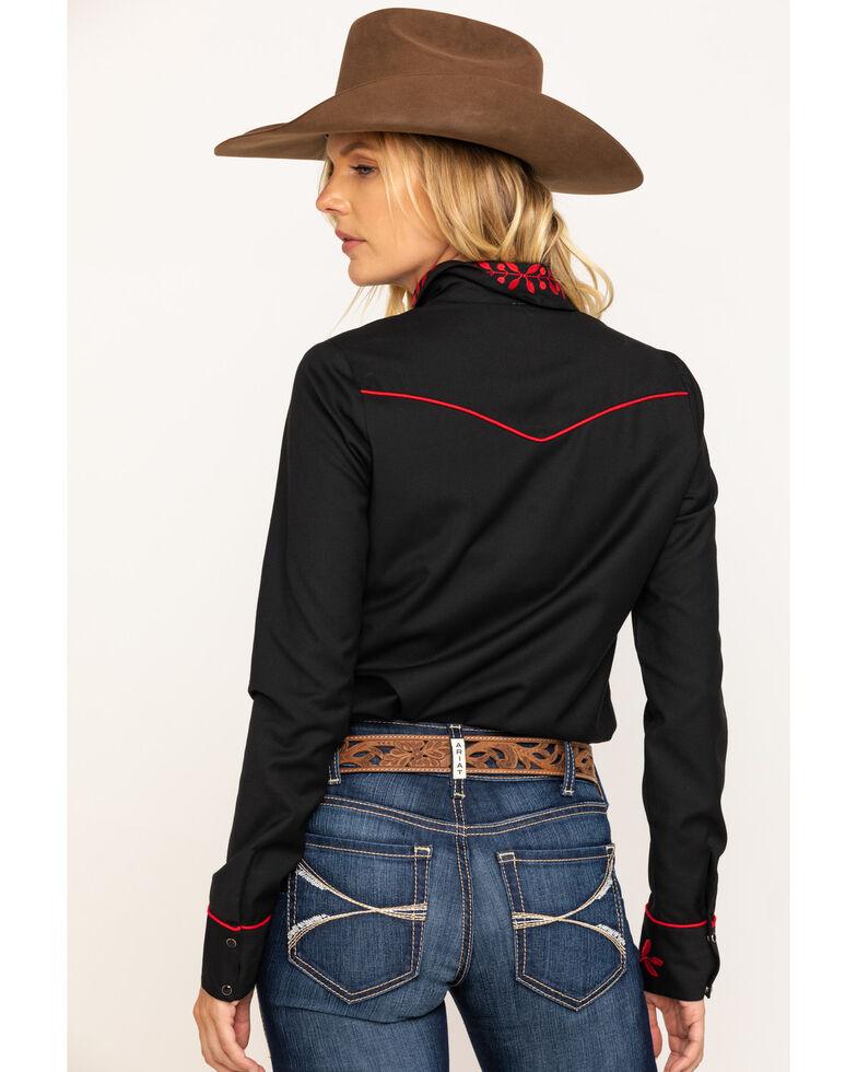 Roper Women's Black Red Rose Embroidered Rodeo Shirt , Black, hi-res