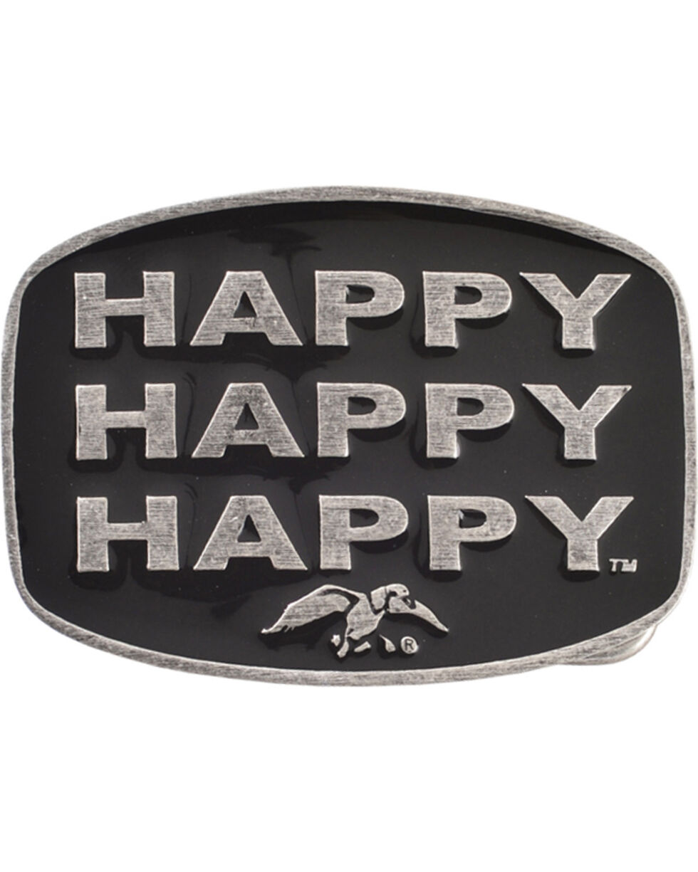 Montana Silversmiths Duck Commander Happy Happy Happy Belt Buckle, Silver, hi-res
