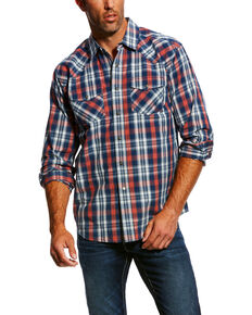 Ariat Men's Jamie Retro Plaid Long Sleeve Western Shirt , Dark Blue, hi-res