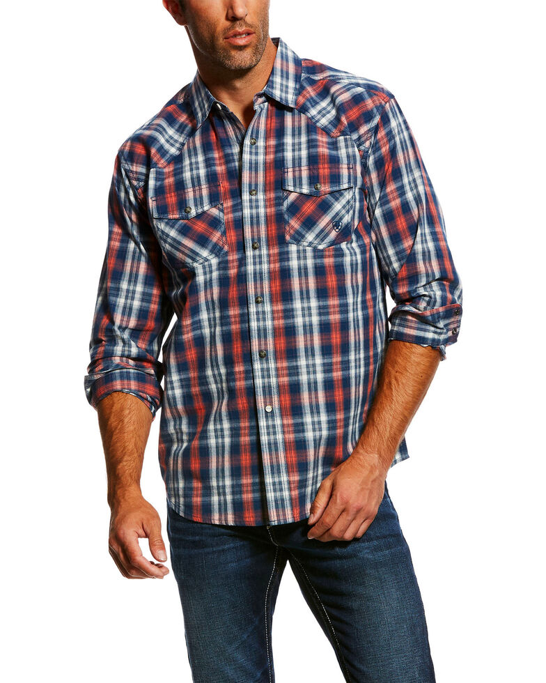 Ariat Men's Jamie Retro Plaid Long Sleeve Western Shirt , Dark Blue, hi-res