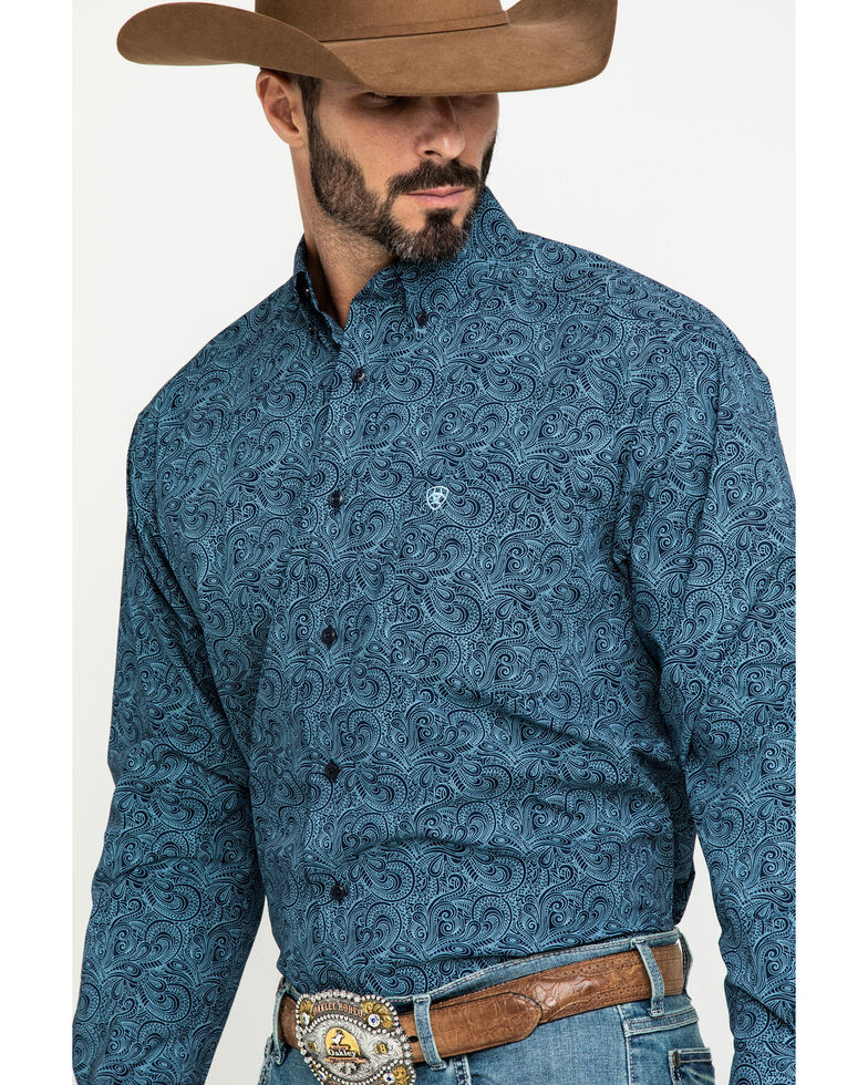Ariat Men's Longmont Stretch Paisley Print Long Sleeve Western Shirt - Tall , Multi, hi-res