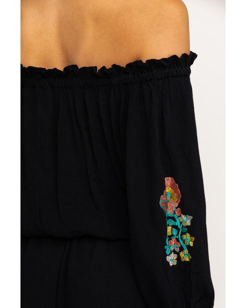 Wrangler Women's Retro Floral Embroidery Off Shoulder Romper, Black, hi-res