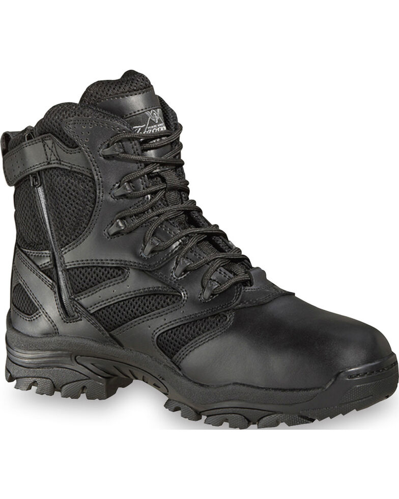 "Thorogood Men's Deuce 6"" Waterproof Side Zip Work Boots, Black, hi-res"